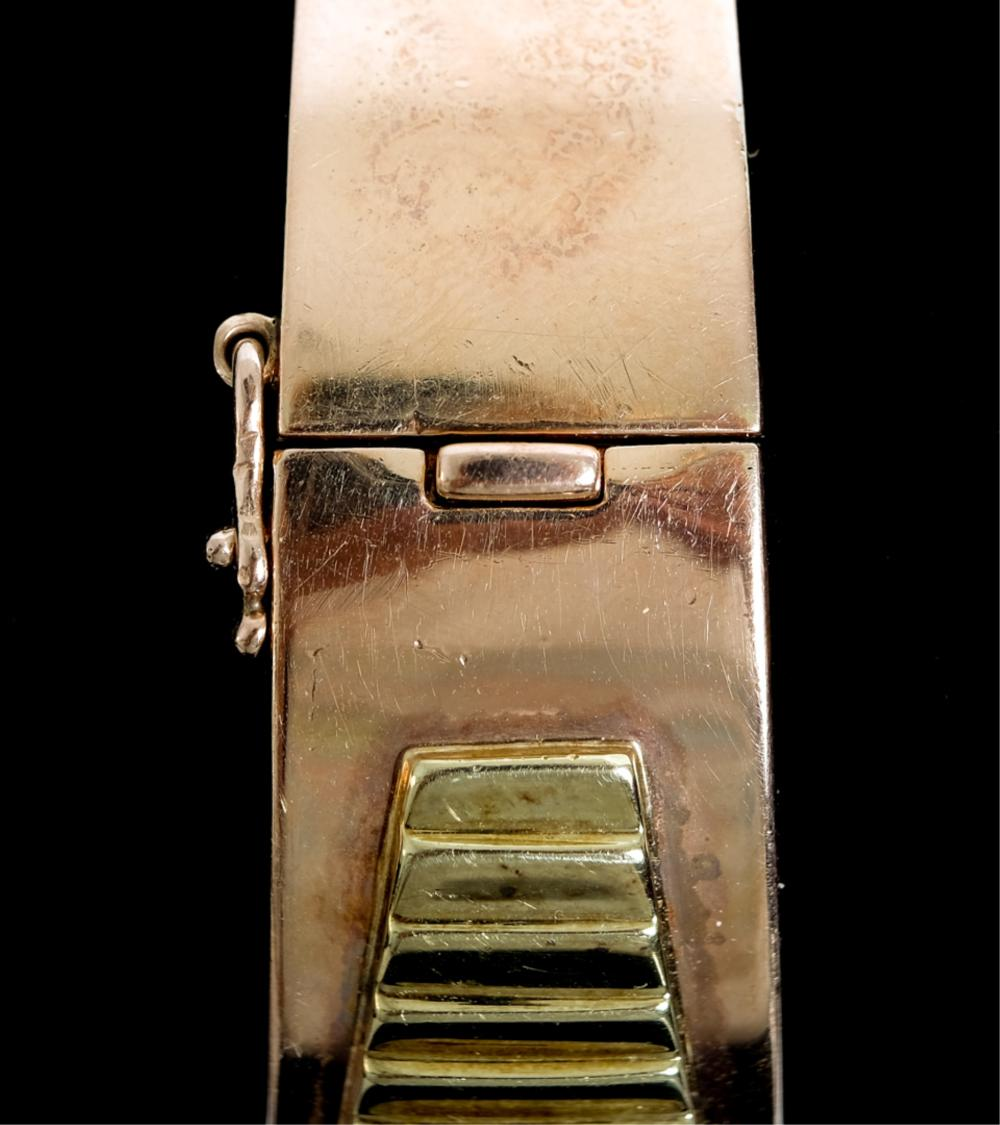 14k Tricolor Gold Ruby Diamond Bangle Watch