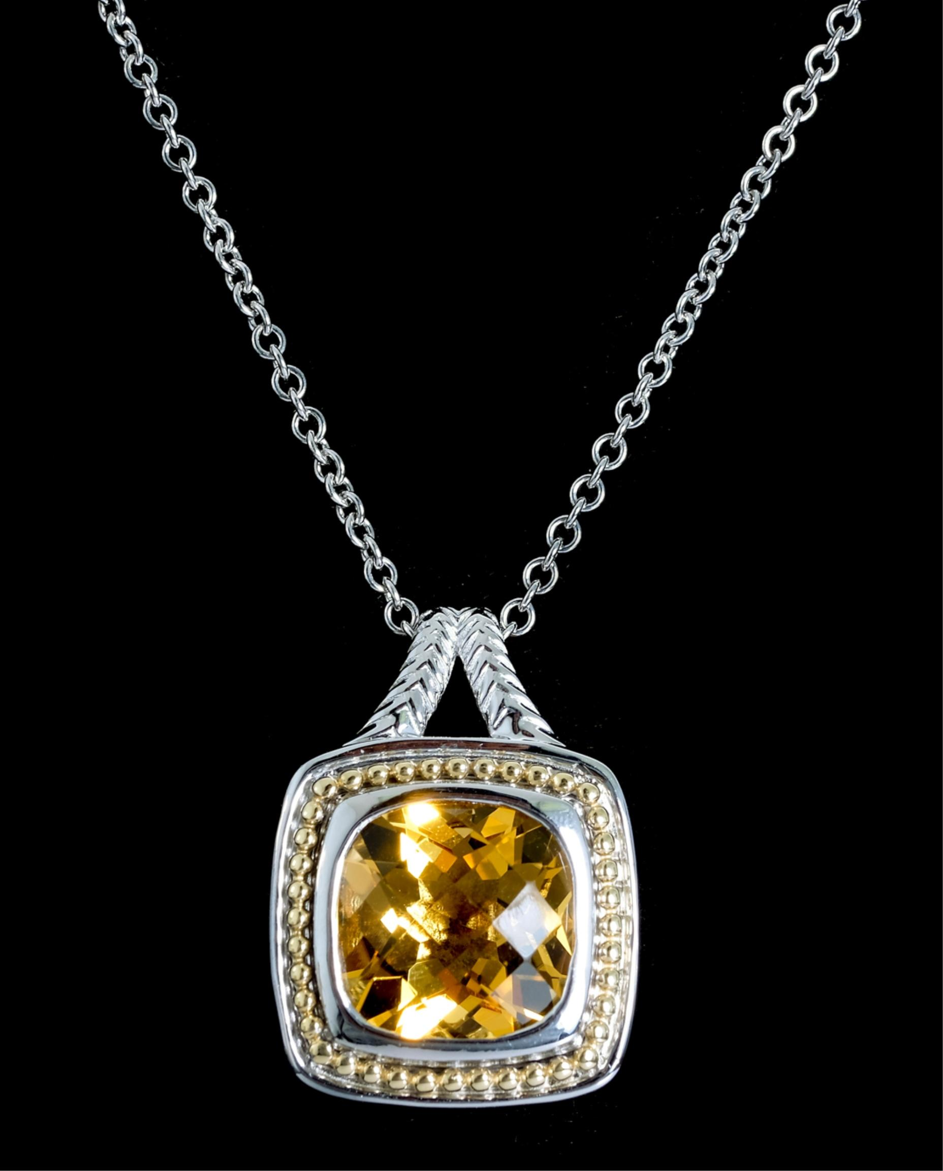 18K YG & Sterling Citrine Pendant Necklace