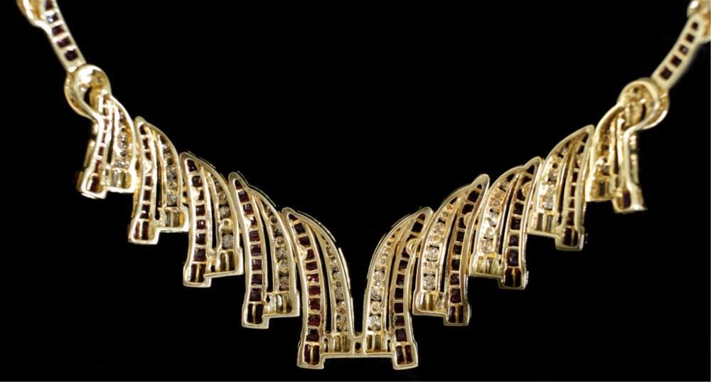 18k Yellow Gold Ruby & Diamond Necklace