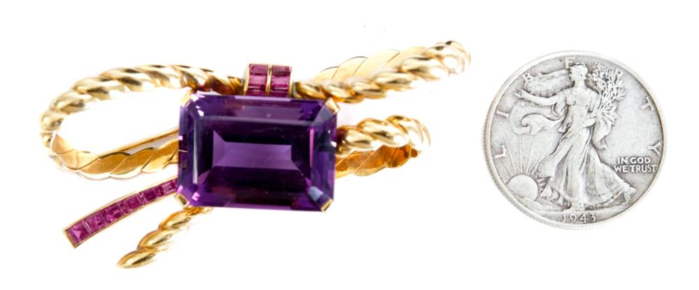 18k YG Amethyst & Ruby Ribbon Pin Brooch