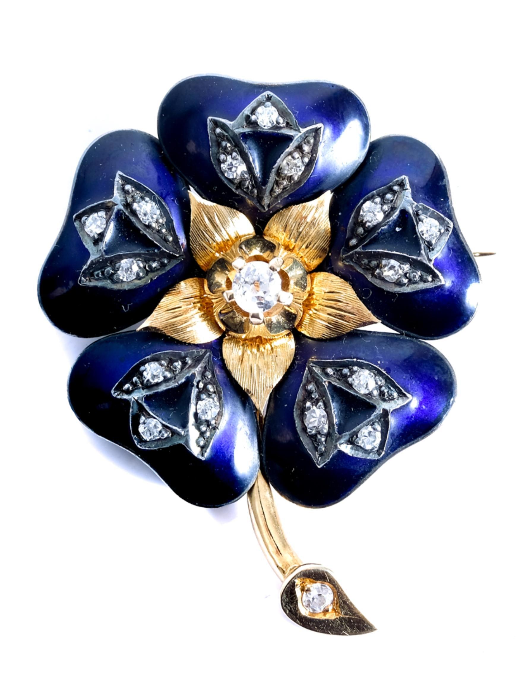 18k Yellow Gold & Diamond Flower Petal Brooch