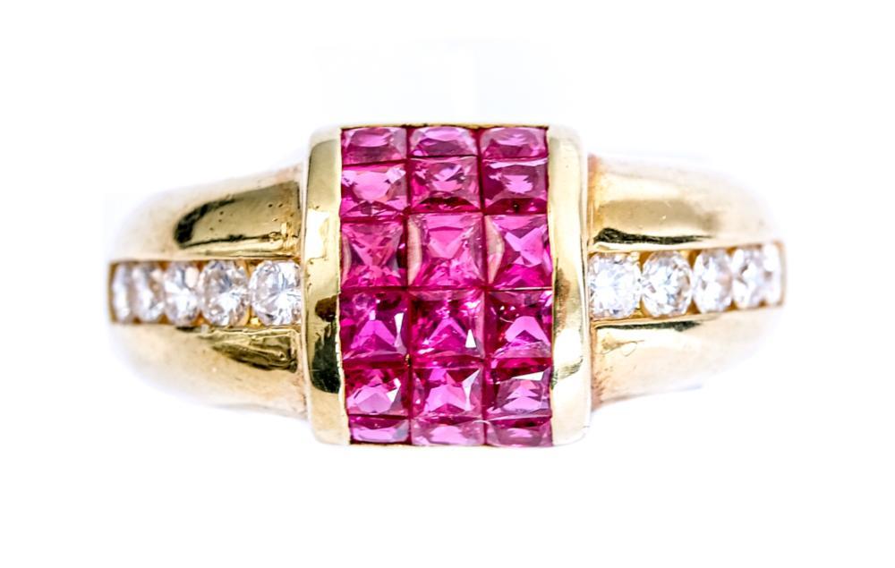 18k Yellow Gold, Ruby & Diamond Ring, Size 7