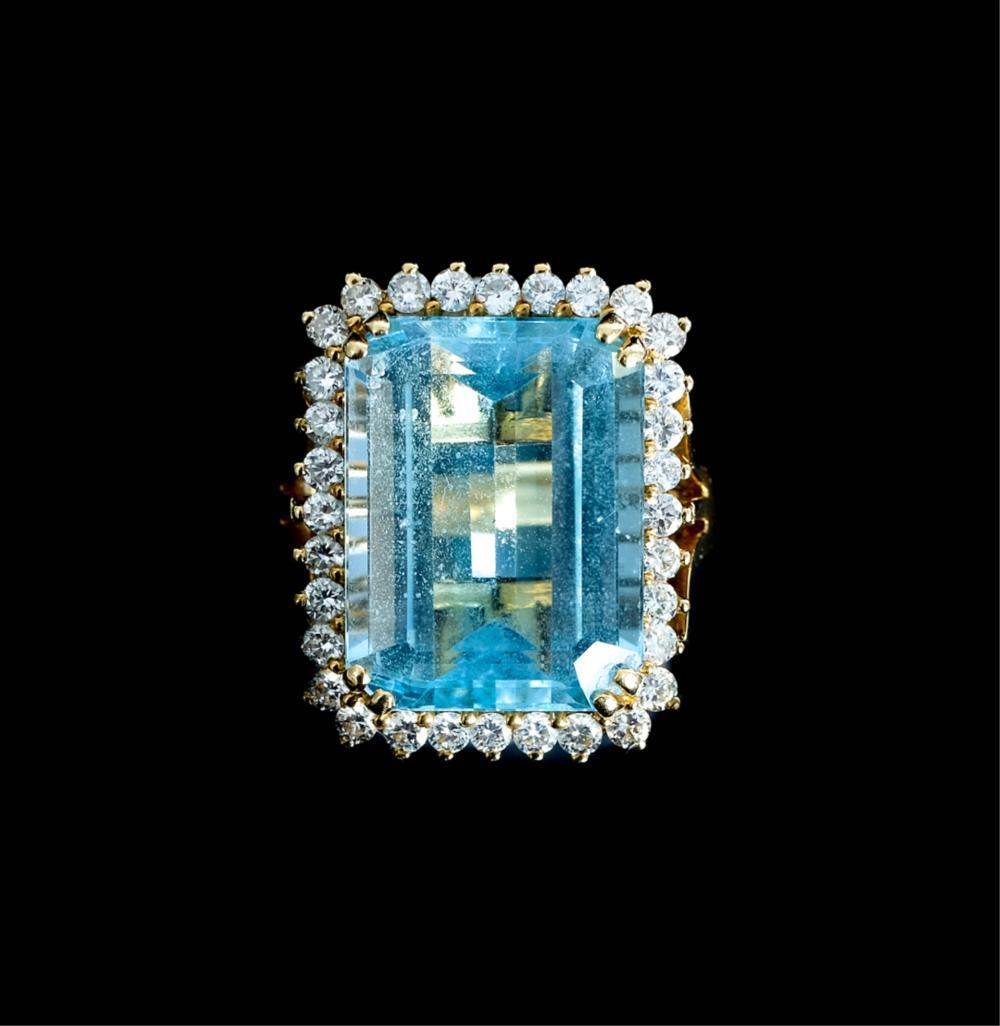 18k YG 13.5 CT Blue Topaz Ring w/32 Diamonds