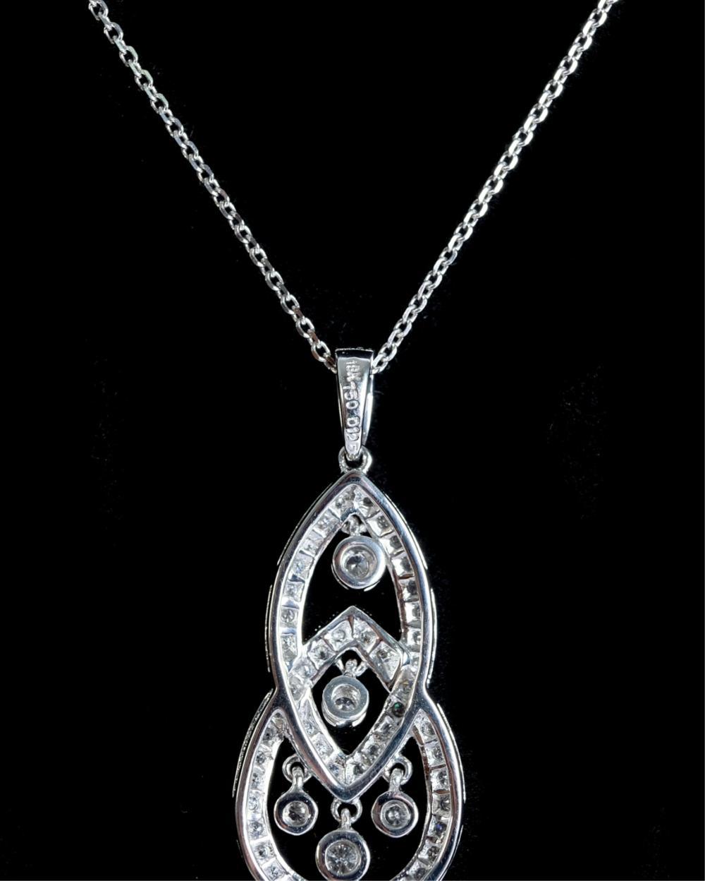 18k White Gold & 1.25 TCW Diamond Pendant Necklace
