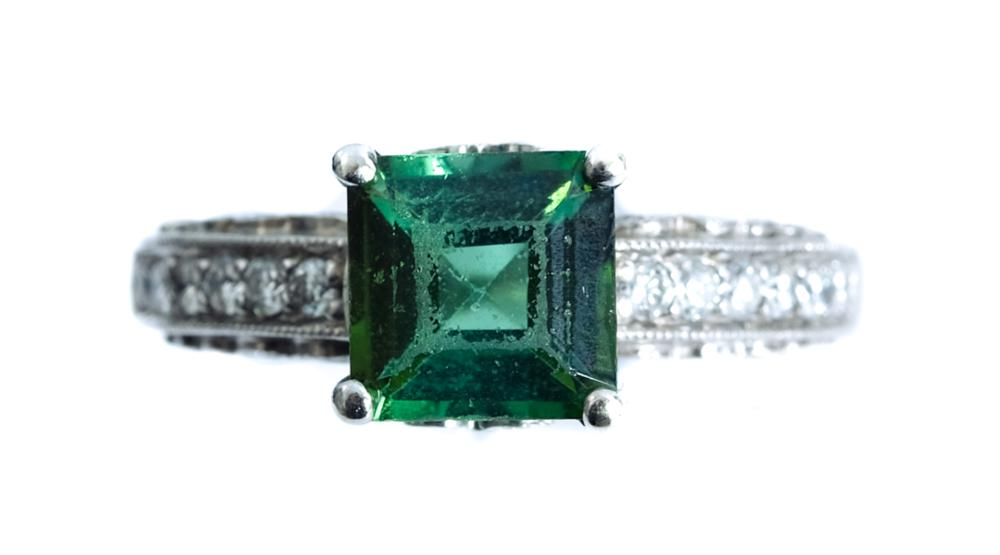18k White Gold Diamond & Emerald Ring