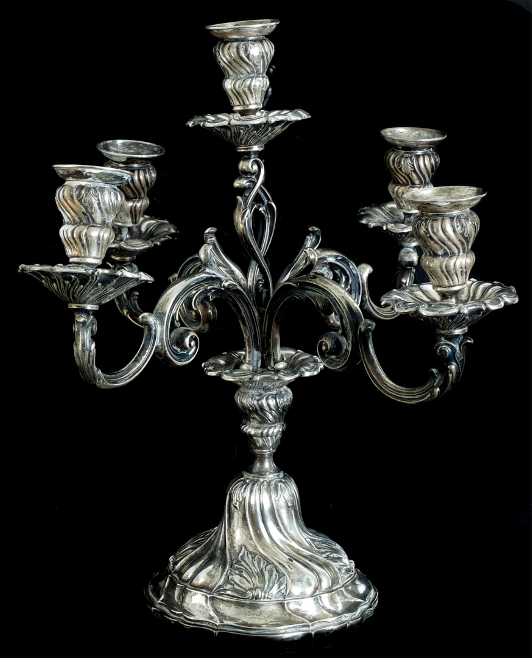 Impressive German 800 Silver 5 Light Candelabra