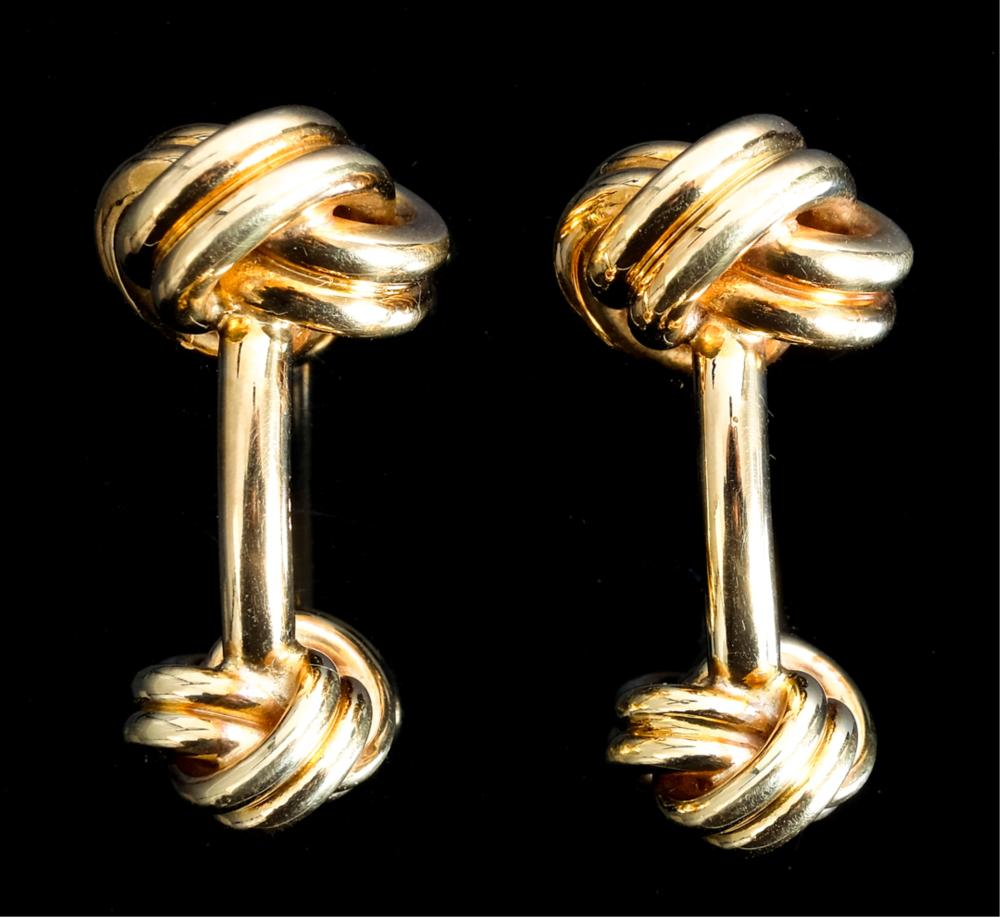 Tiffany & Co 18k Yellow Gold Triple Knot Cufflinks