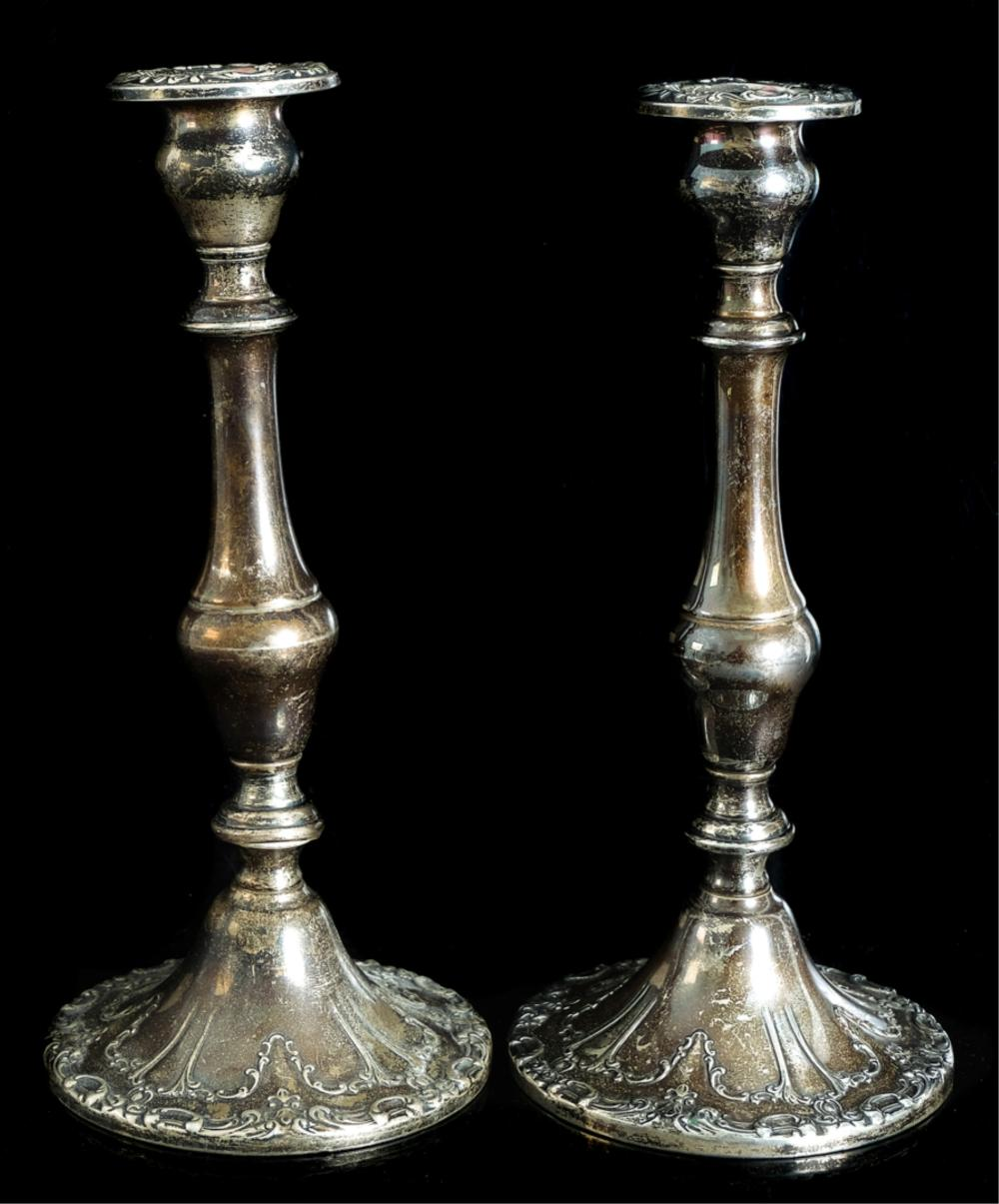 "Pair, Gorham ""Strasbourg"" Sterling Candle Holders"