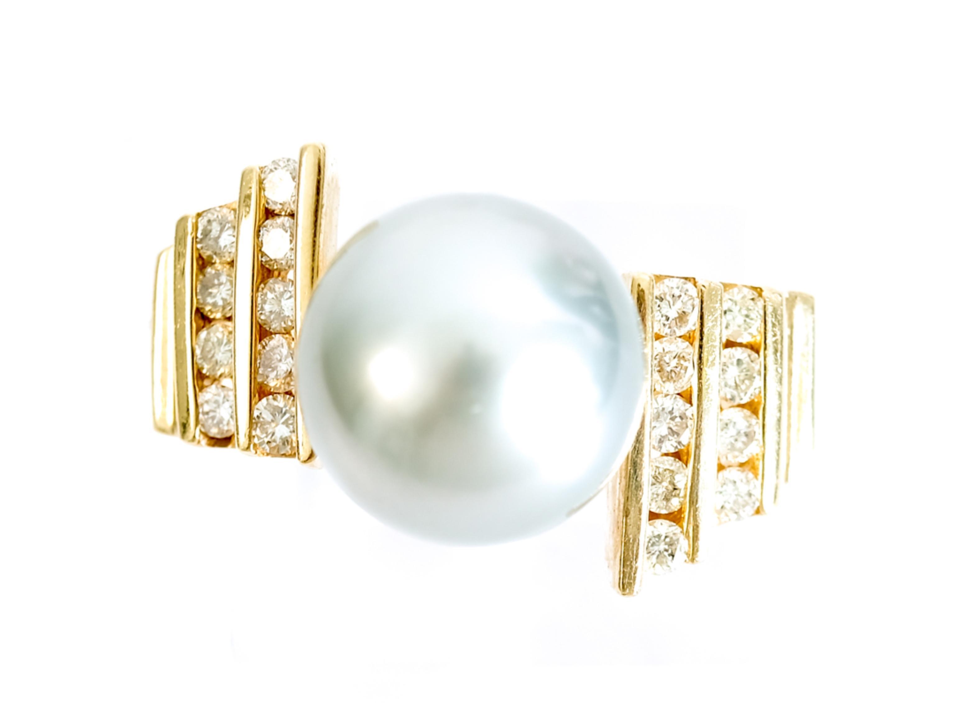 14k YG Tahitian Pearl & Diamond Ring Size 9