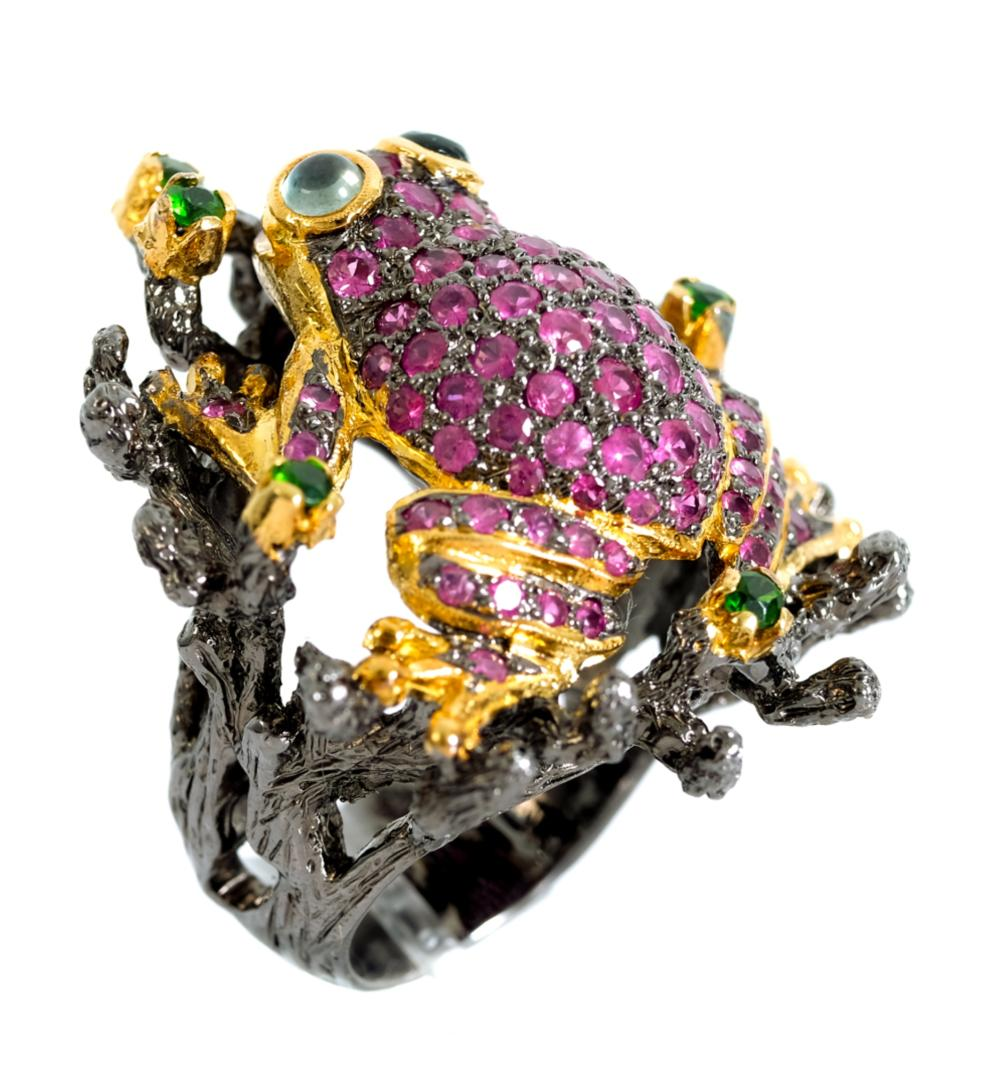 14k & Sterling Silver Multi Gem Frog Ring Size 7