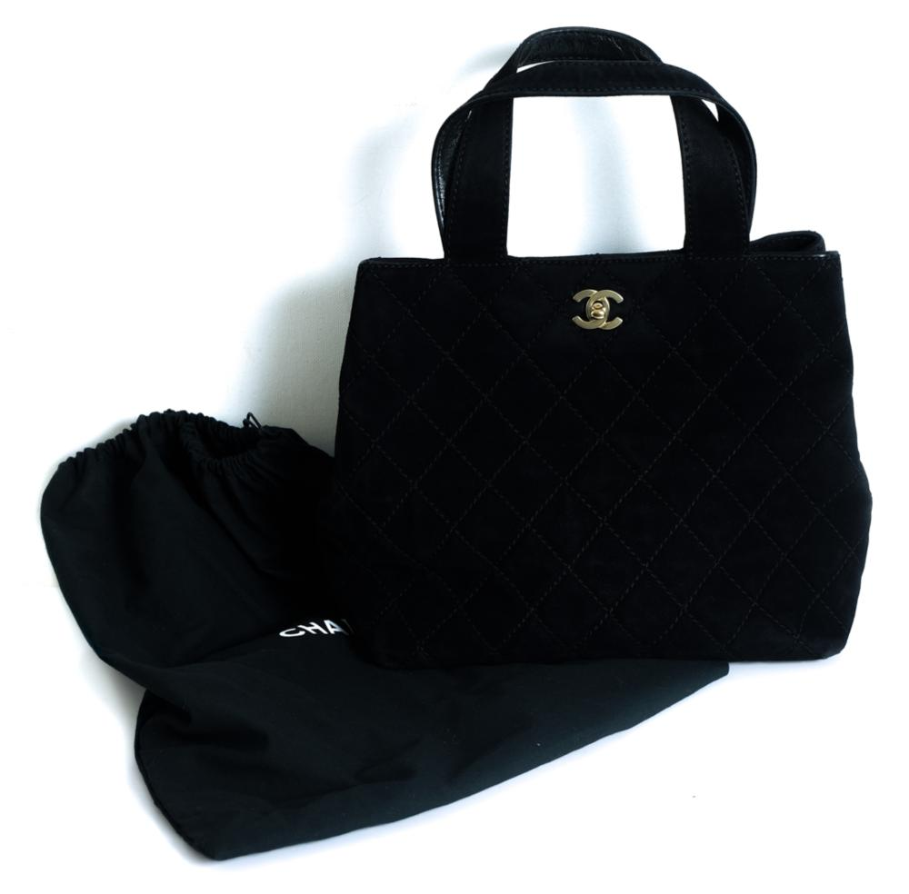 Chanel Quilted Black Suede Tote Bag