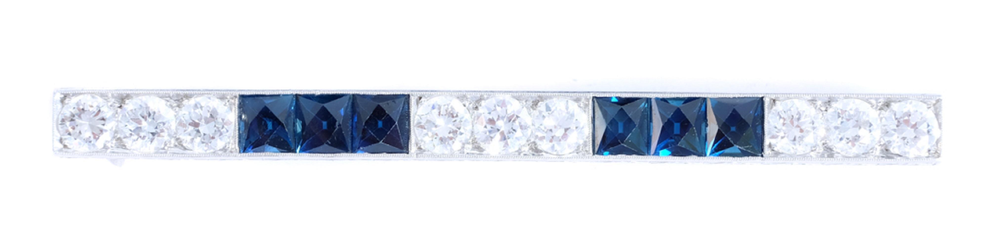 Fantastic Platinum Diamond & Sapphire Bar Pin