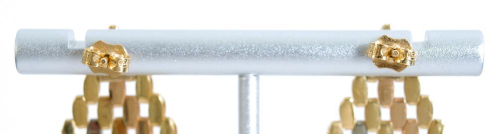 18K Tricolor Diamond Shaped Chandelier Earrings