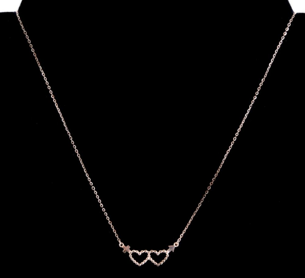 18k Rose Gold Double Heart Pendant Necklace