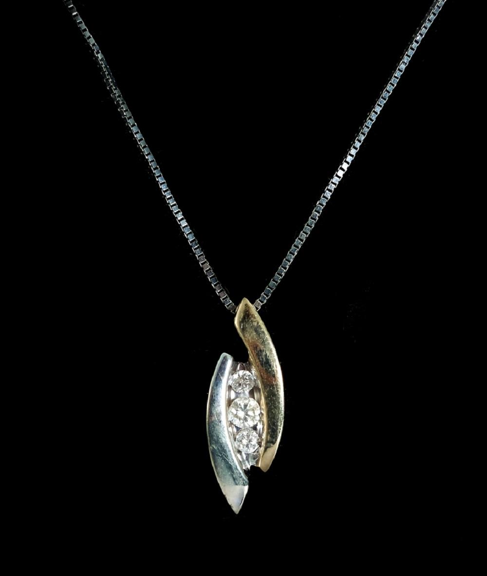 14K WG & YG Diamond Pendant Necklace