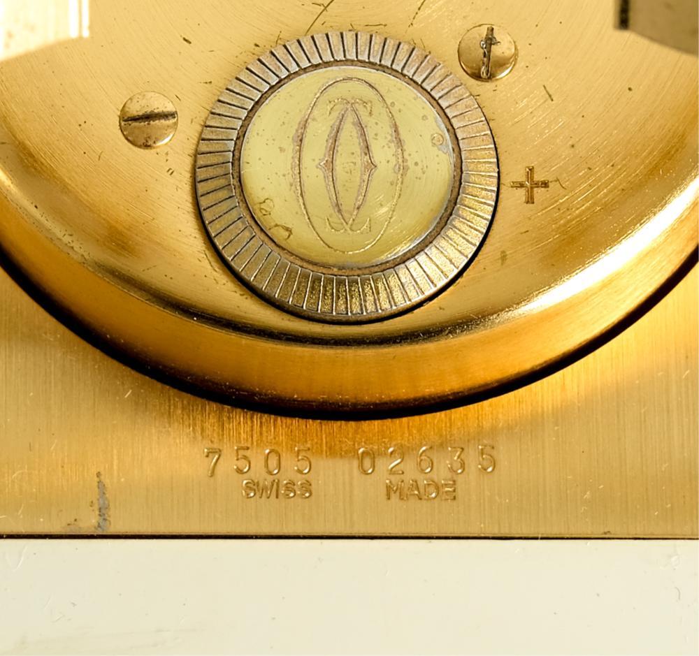 Les Must De Cartier Brass & Enamel Travel Clock