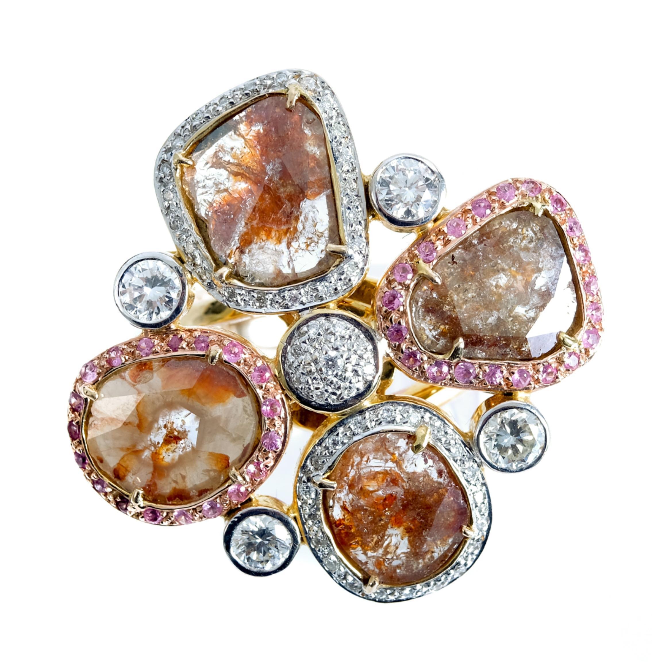 14k YG Fancy Colored Diamond Petal Ring