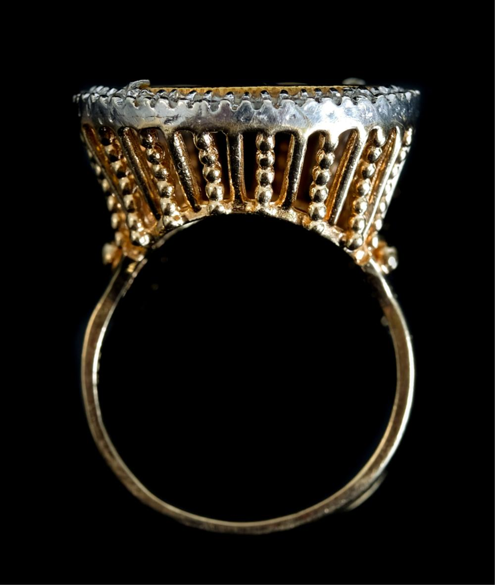 14k YG 1912 Indian Head & Diamond Enamel Ring