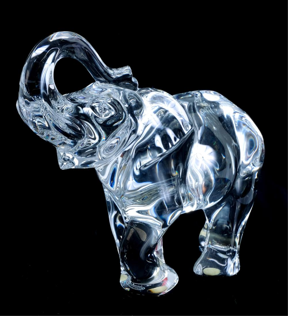2 Baccarat Crystal Elephants Medium & Large