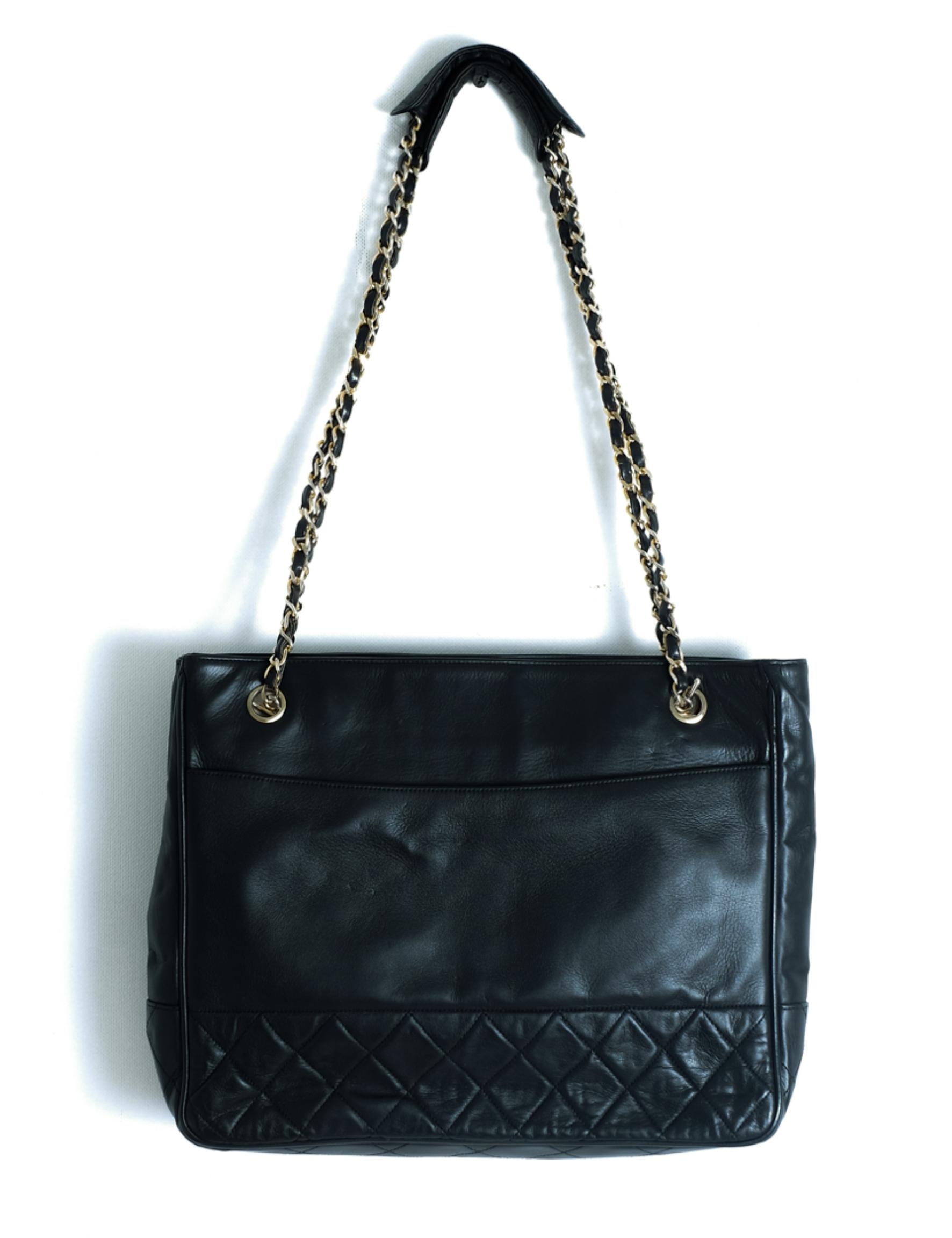 Vintage Chanel Quilted Black Leather Tote Bag
