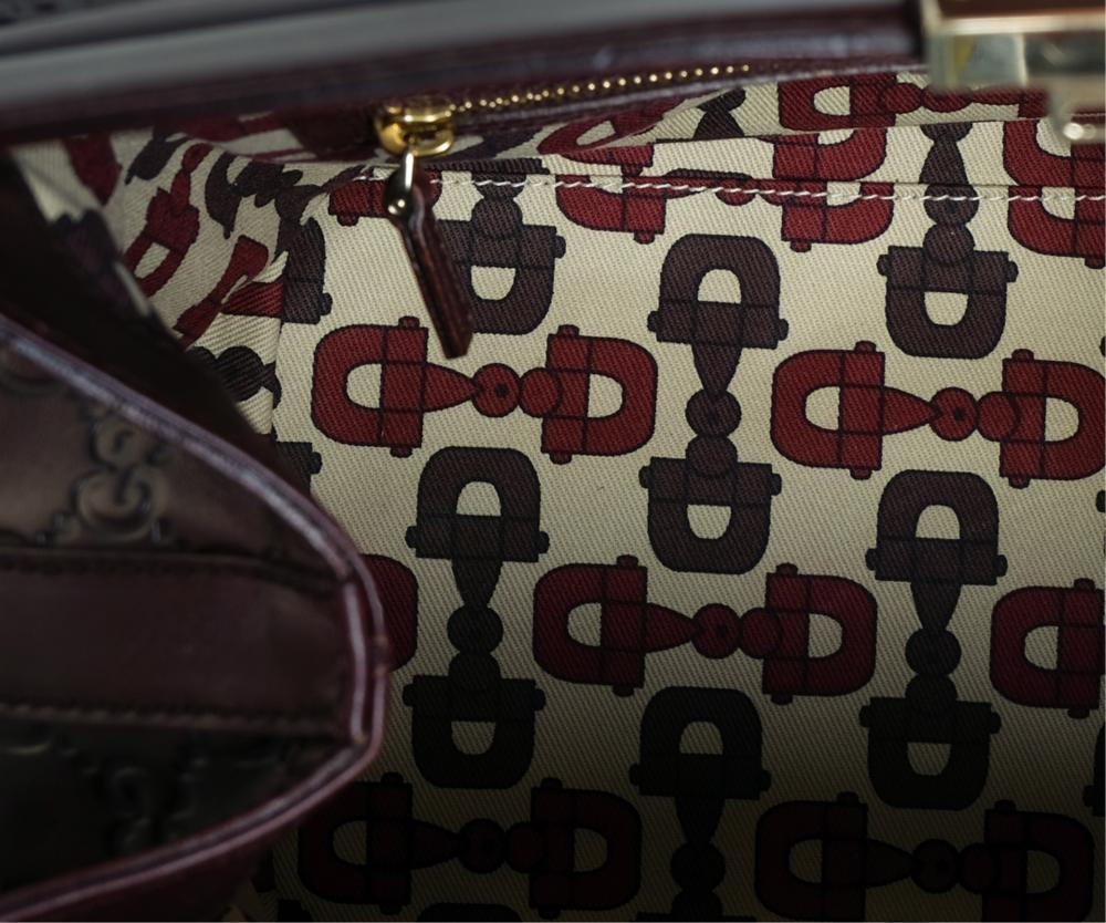 Gucci Embossed Oxblood Leather Purse