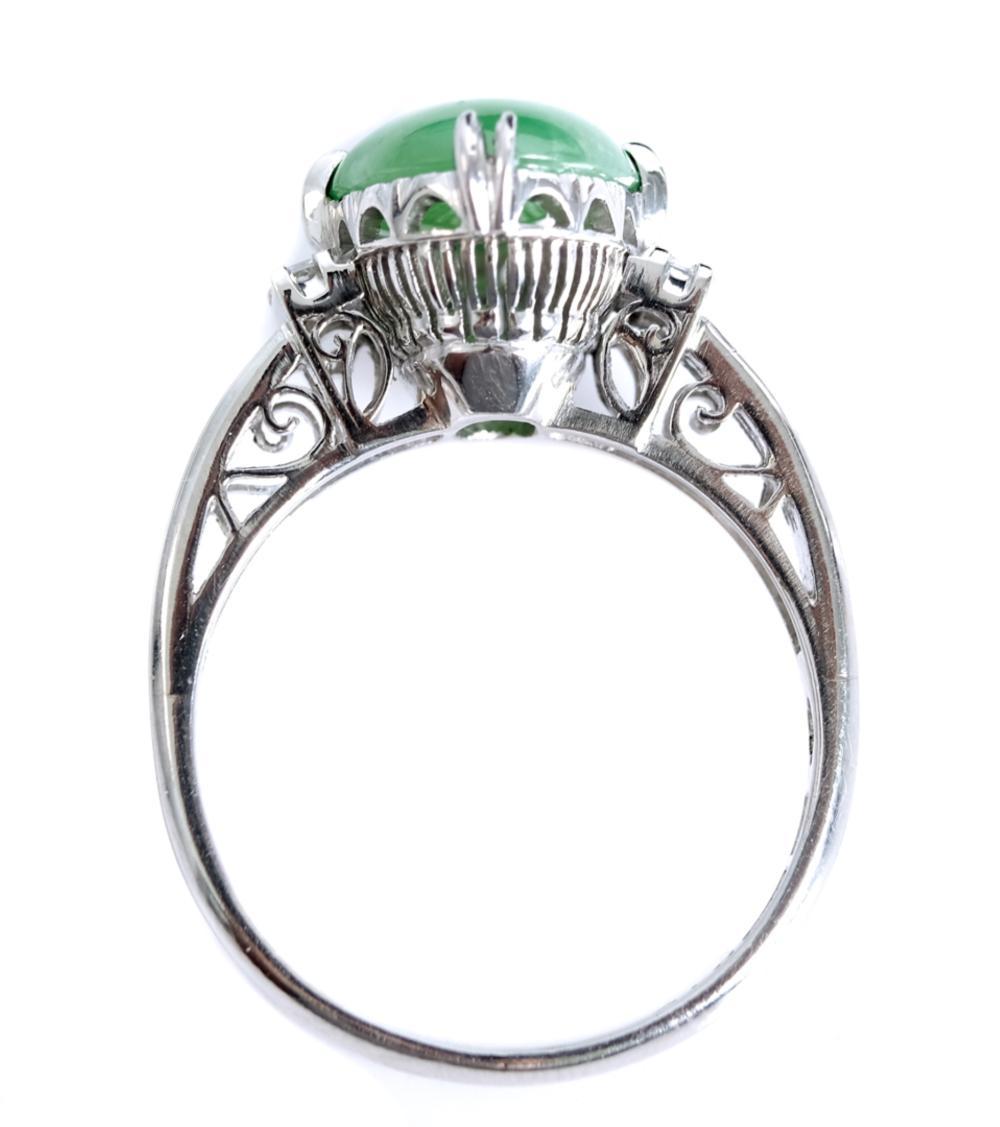 Estate Platinum Jade & Diamond Ring, Size 6 1/2