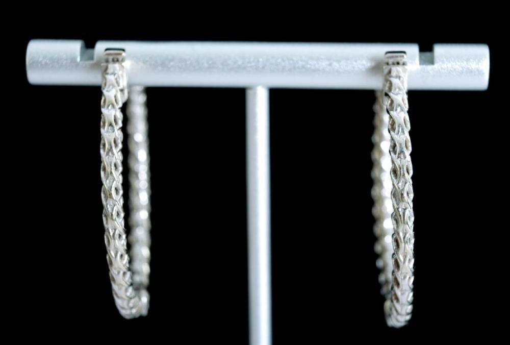 14k White Gold & 2Ct Diamond Hoop Earrings