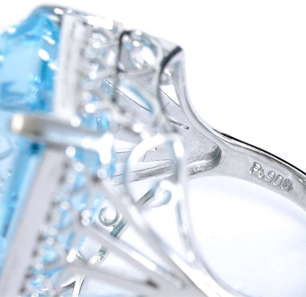 Estate Platinum 32.21ct Blue Topaz Ring, Size 6