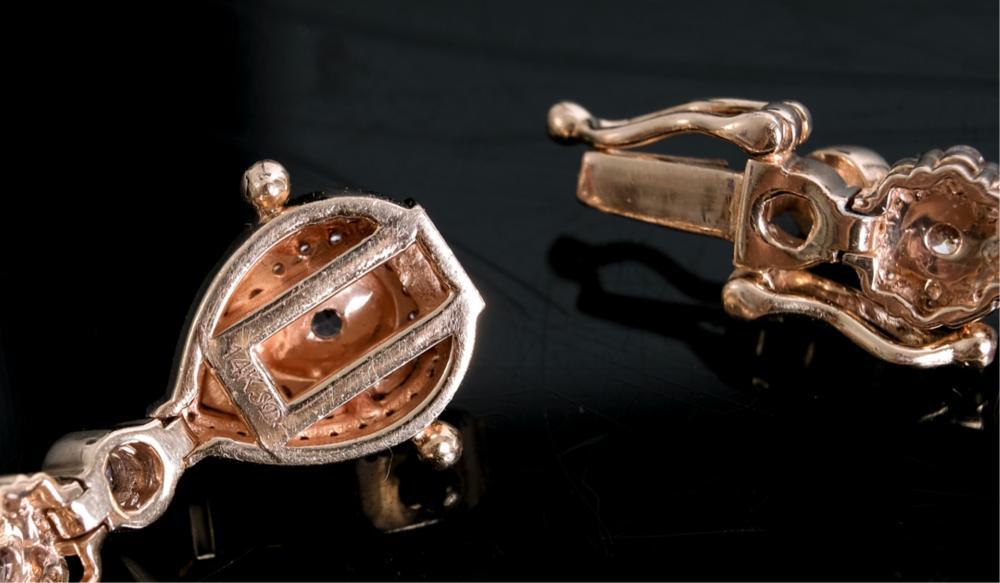 14k RG 4.82ctw Pink & White Diamond Bracelet