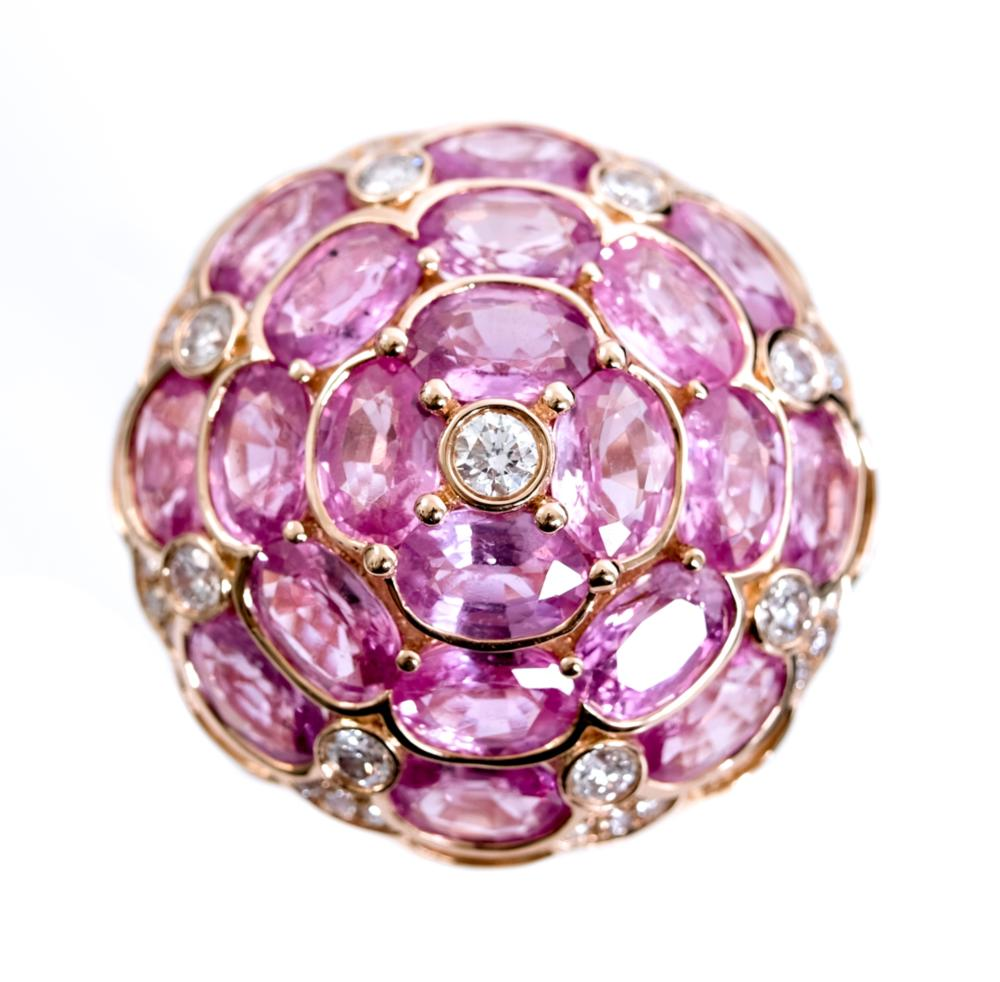 18k RG 9.93ctw Pink Sapphire & Diamond Ring