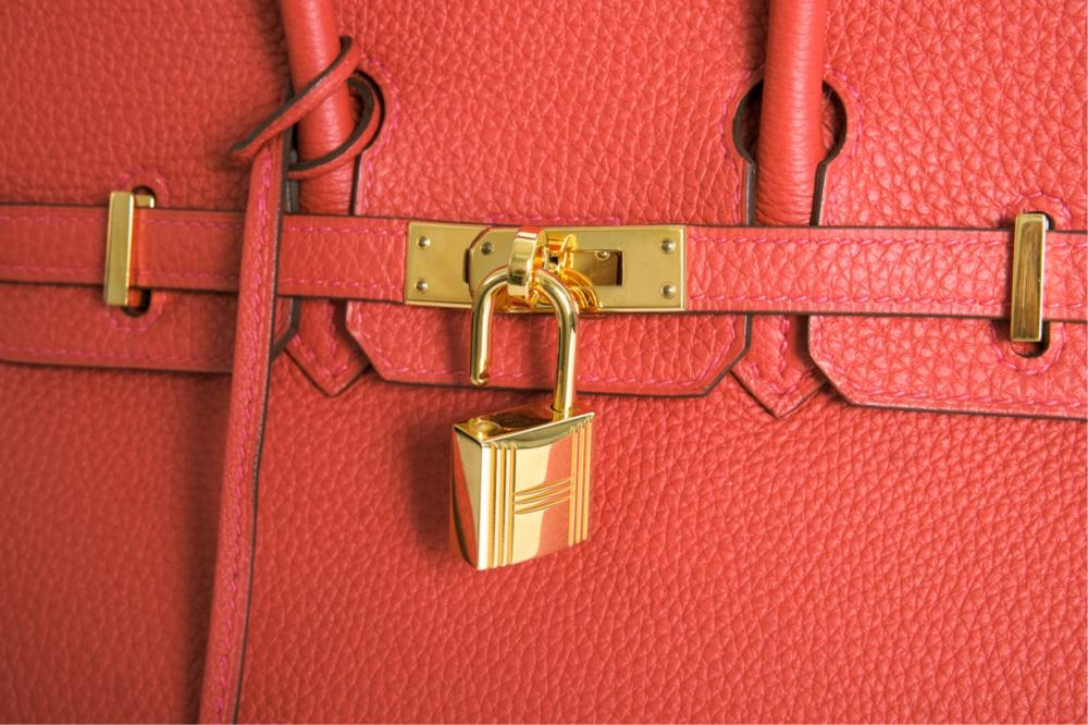 Hermes Rouge Garance Togo 25 Birkin Bag