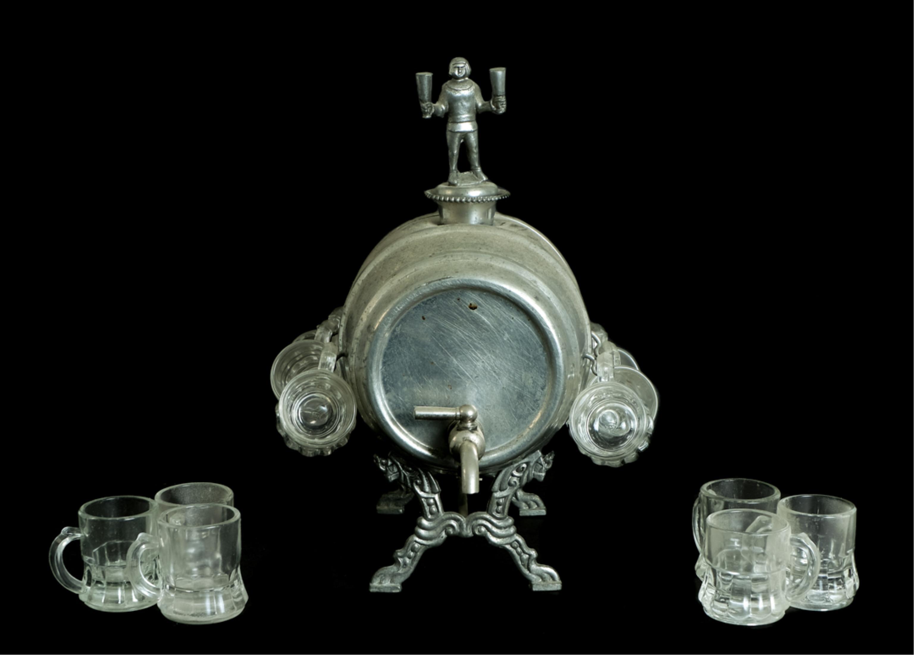 Vintage Figural Silver Whiskey Barrel Mug Display