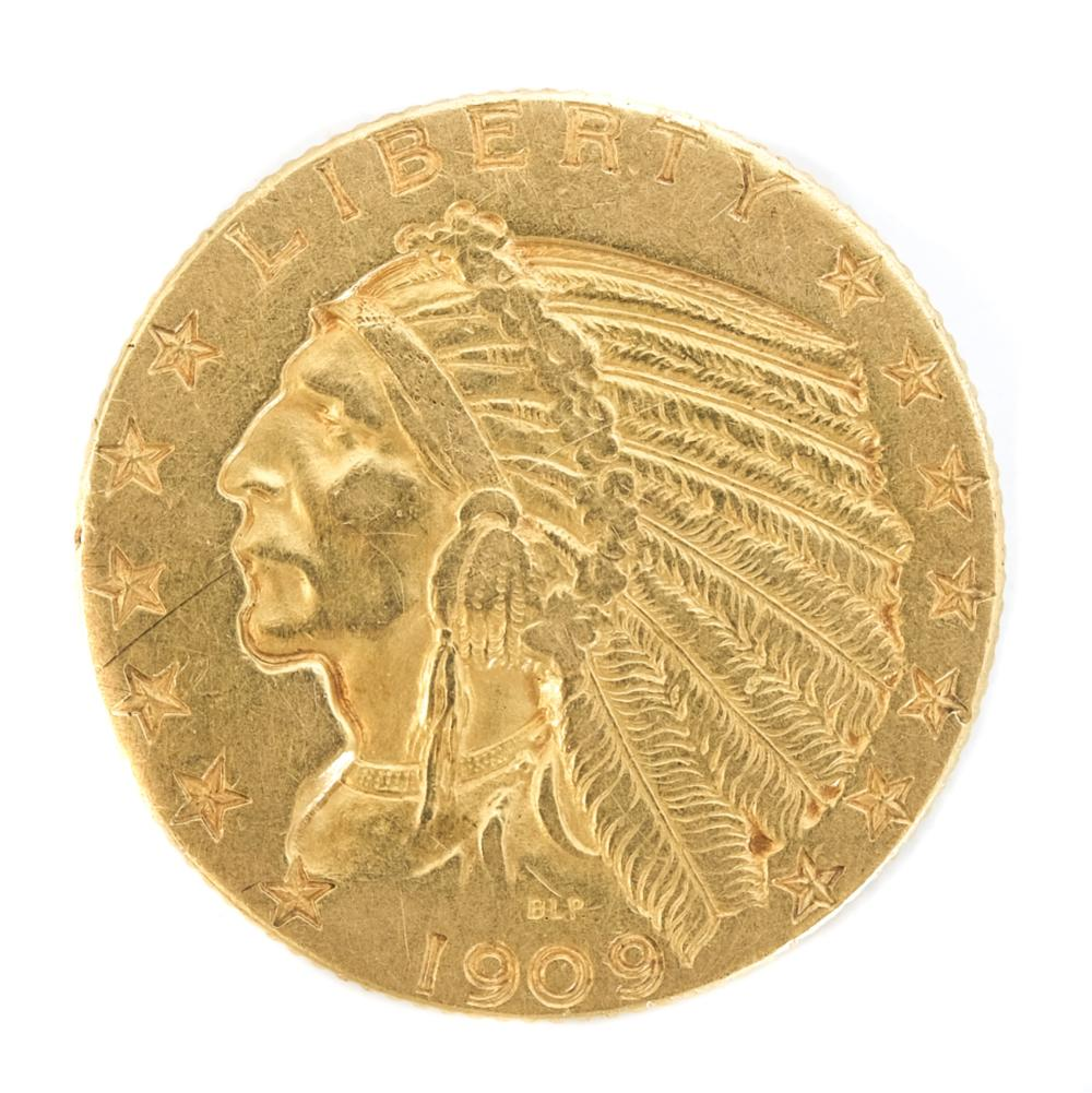 U.S. Gold Five Dollar Indian Head Coin 1909