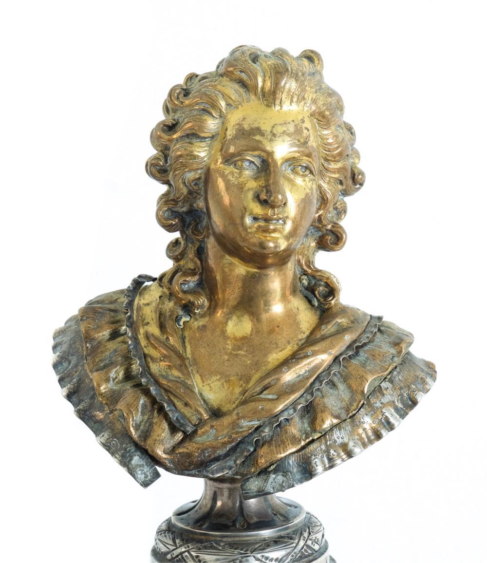 Marie Antoinette Silver & Dore Bronze Bust