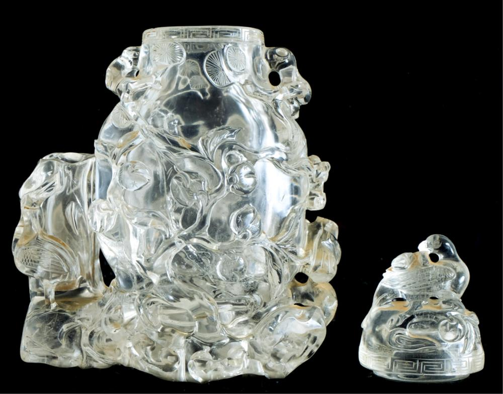 Chinese Clear Rock Crystal Carved Vase & Cover