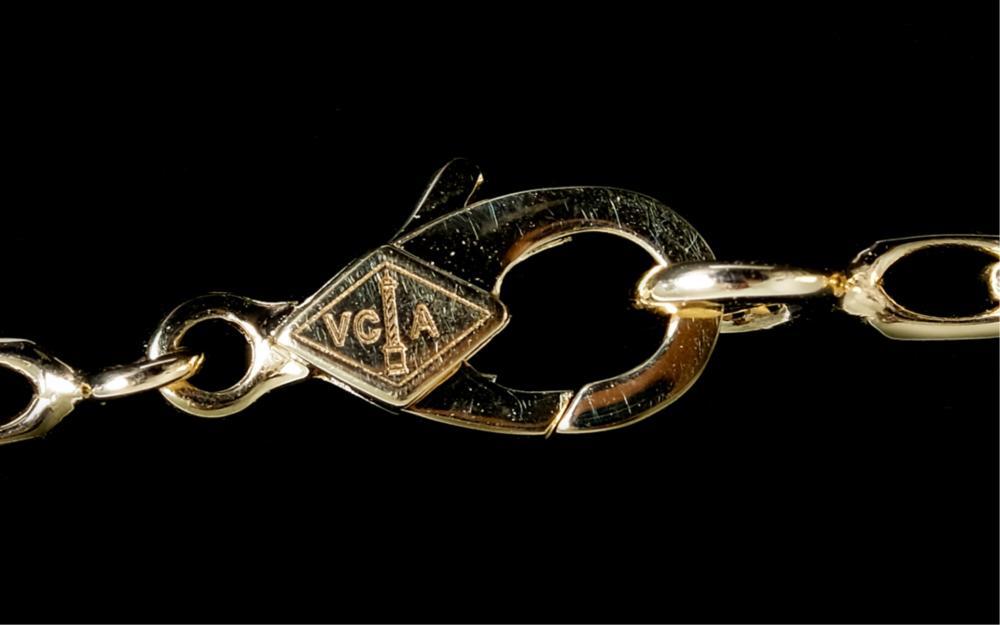 Attr. VCA 18k YG 10 Motif Alhambra Onyx Necklace