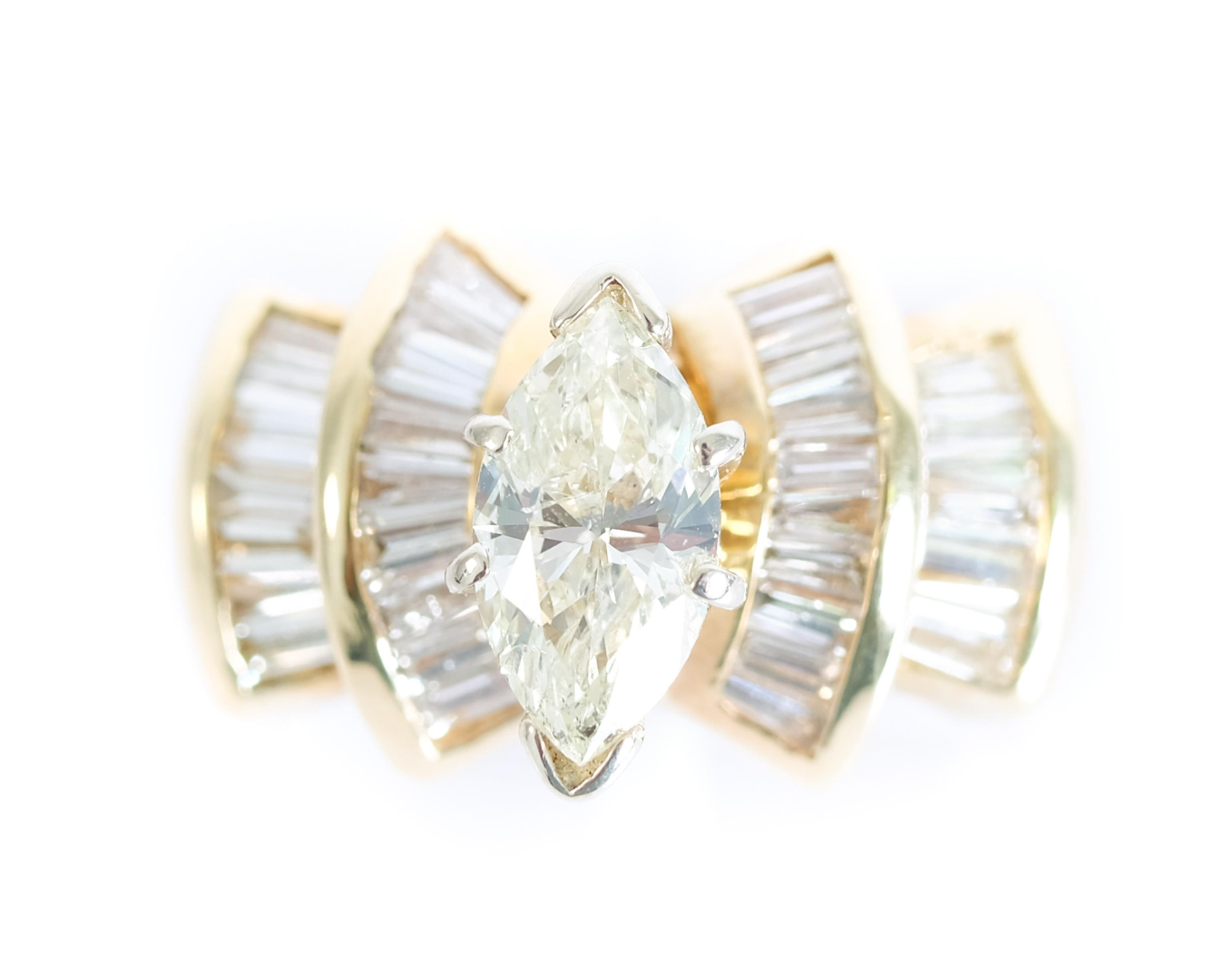 14k Yellow Gold 1CT Marquise Diamond Ring