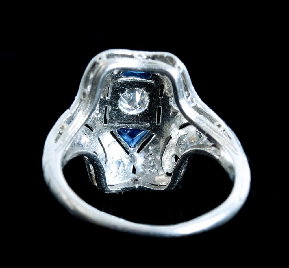 Art Deco Style Platinum Diamond & Sapphire Ring