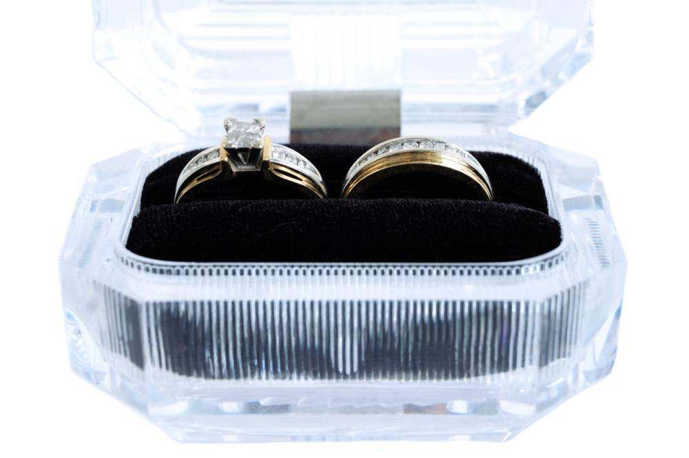 14k Two Tone Diamond Wedding Ring Set