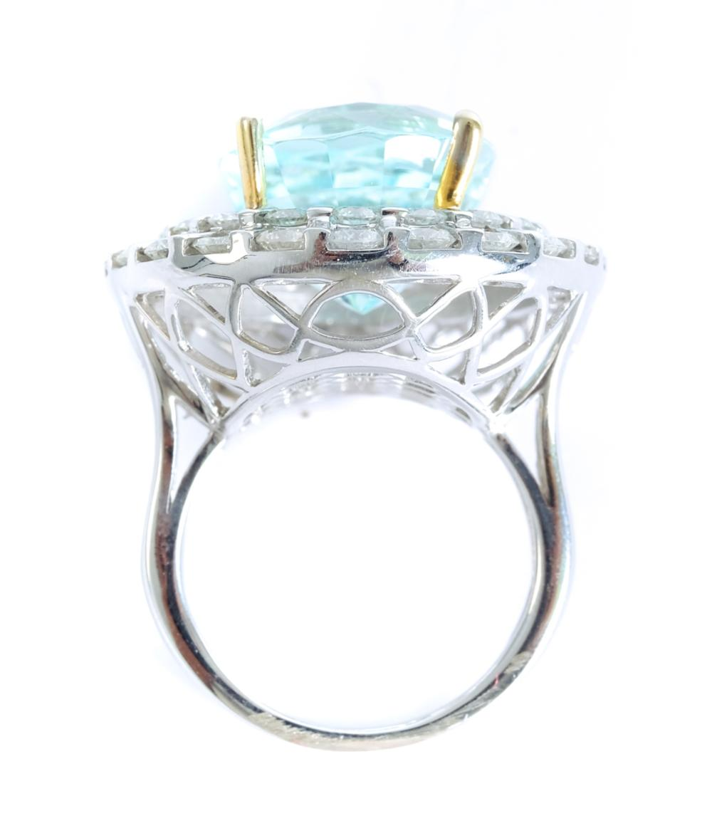 14k WG 12.65 CT Aquamarine Diamond Halo Ring