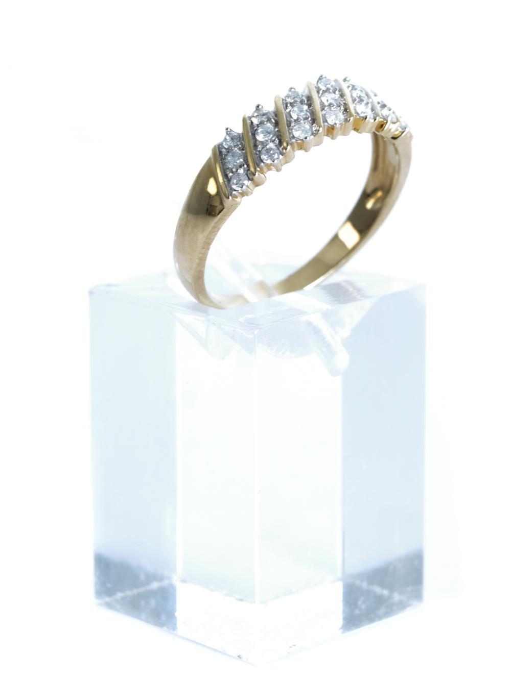10K Yellow Gold & Diamond Ring, Size 7