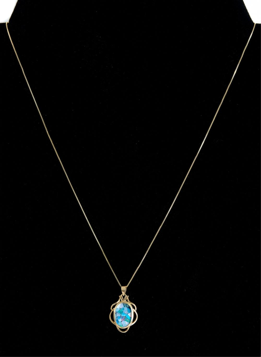 14k Yellow Gold Mosaic Opal Pendant Necklace