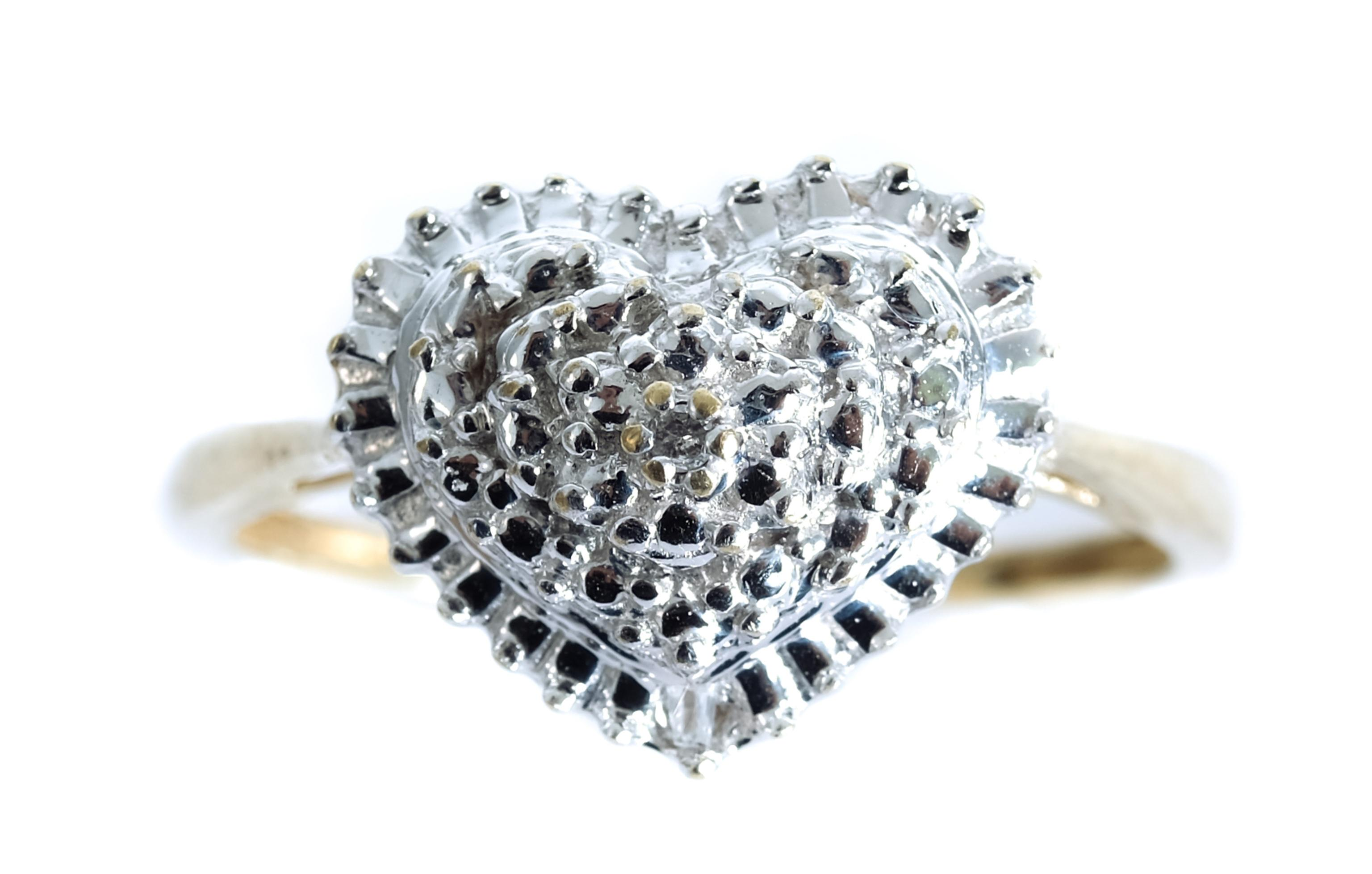 10k Yellow Gold White Gold Heart Ring, Size 7