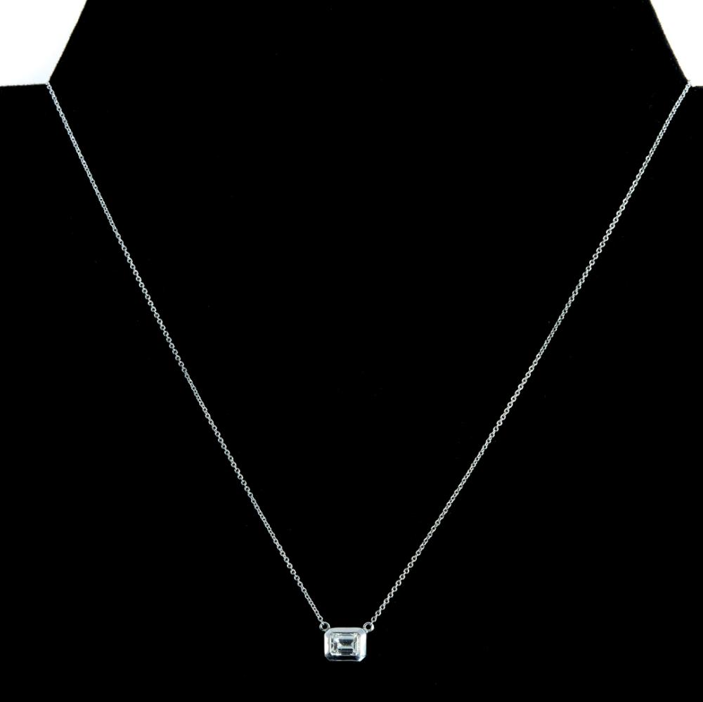 14k White Gold & 0.78 CT Diamond Pendant Necklace