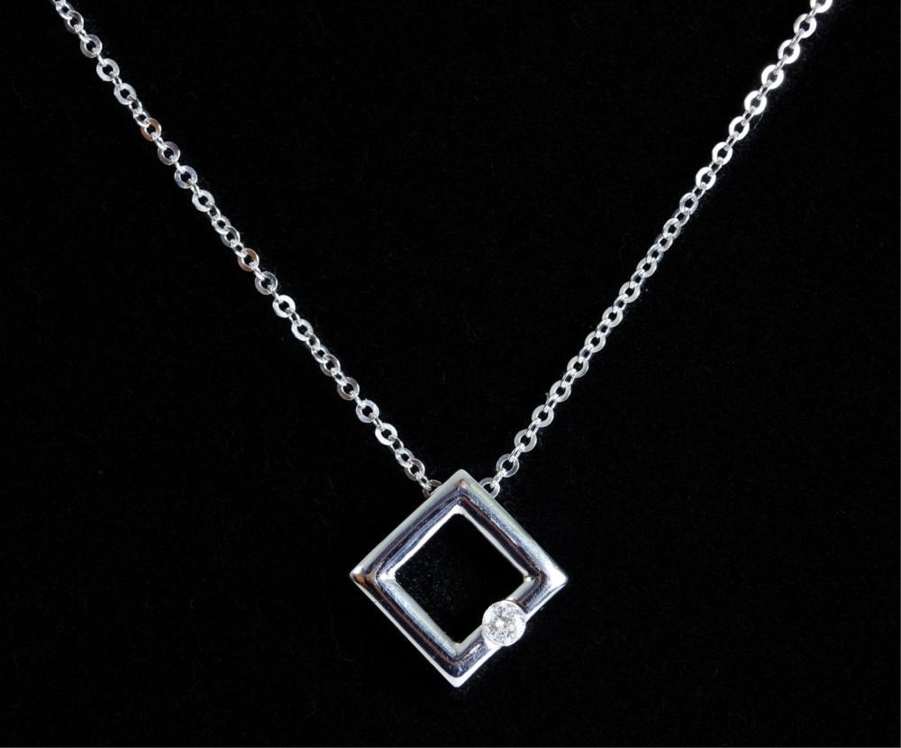 14k White Gold & Diamond Pendant Necklace