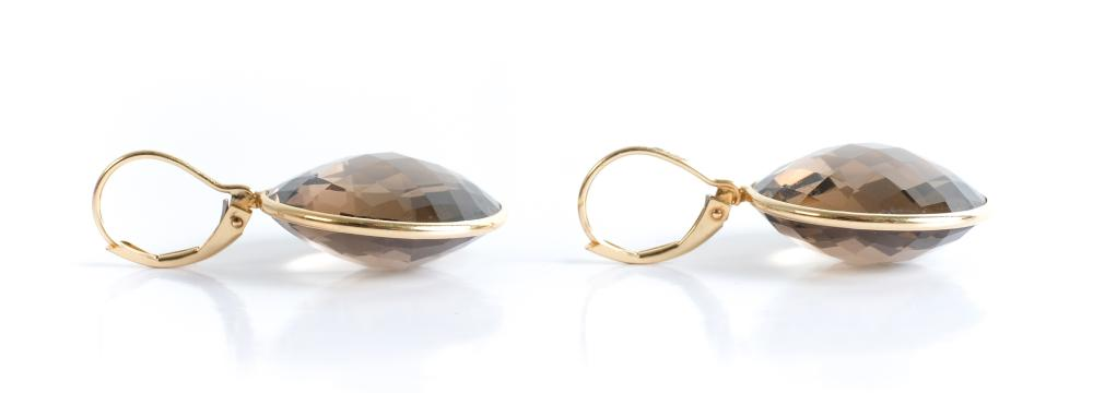 Pair, 14k YG Smokey Quartz Leverback Earrings