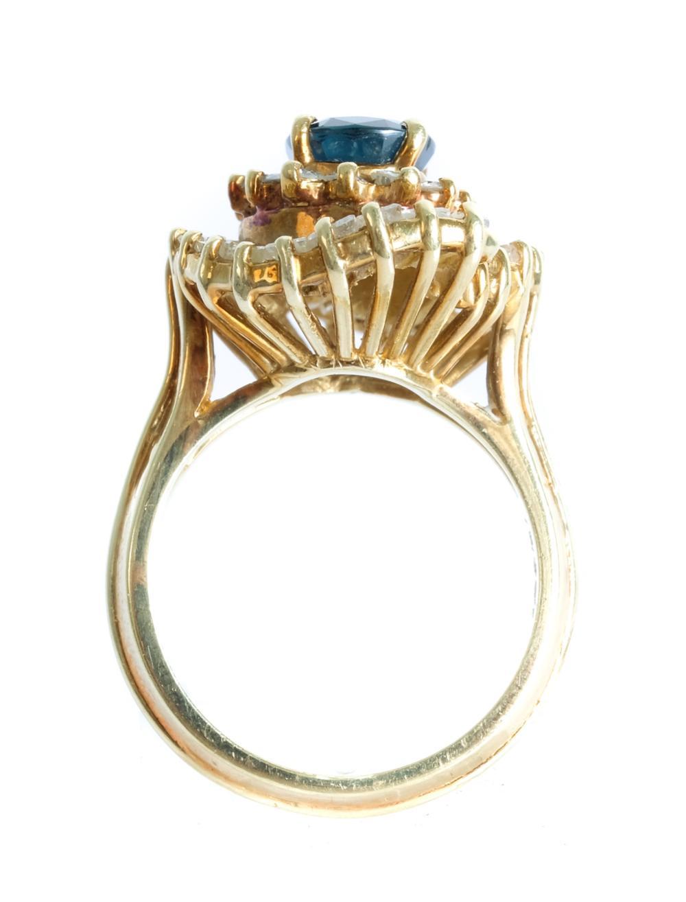 14k YG Diamond & Sapphire Ring, Size 6