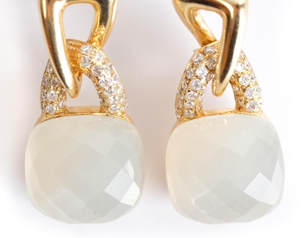 Pair, 14k YG White Quartz & Diamond Earrings