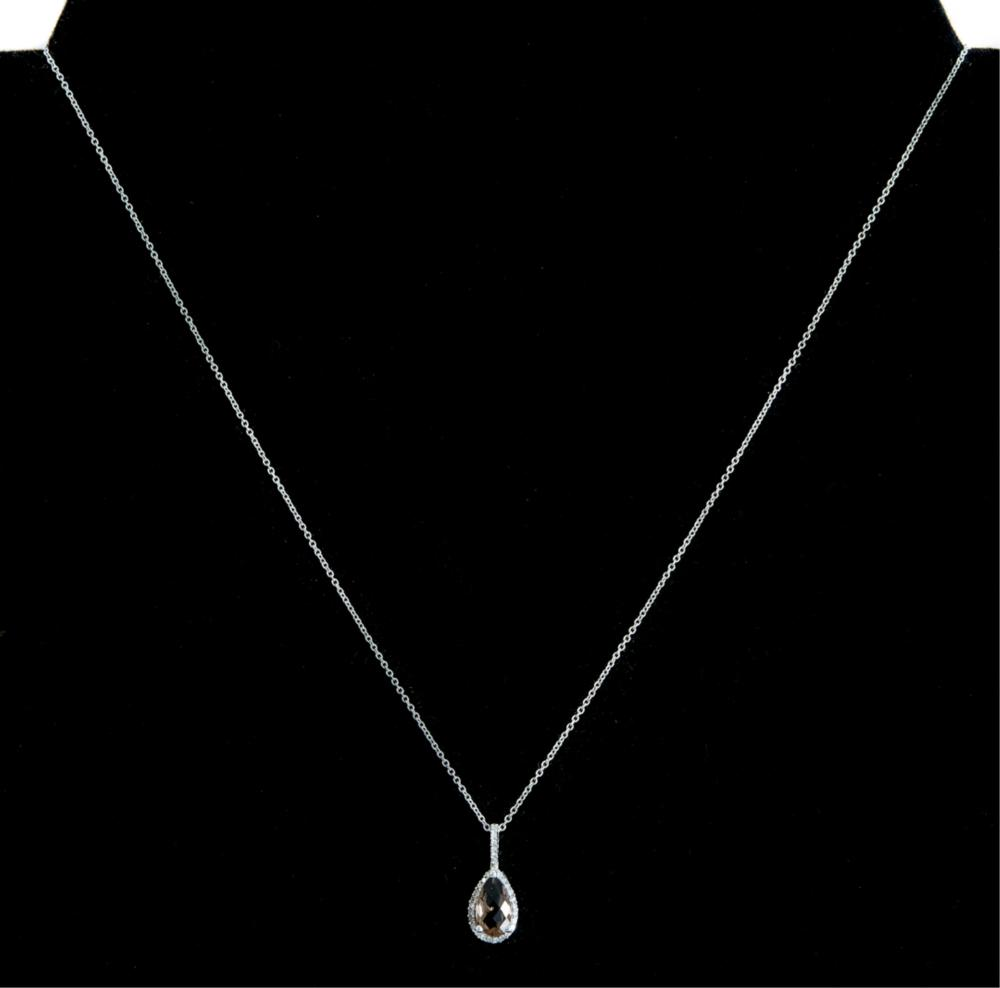 14k WG Topaz & Diamond Pendant Necklace