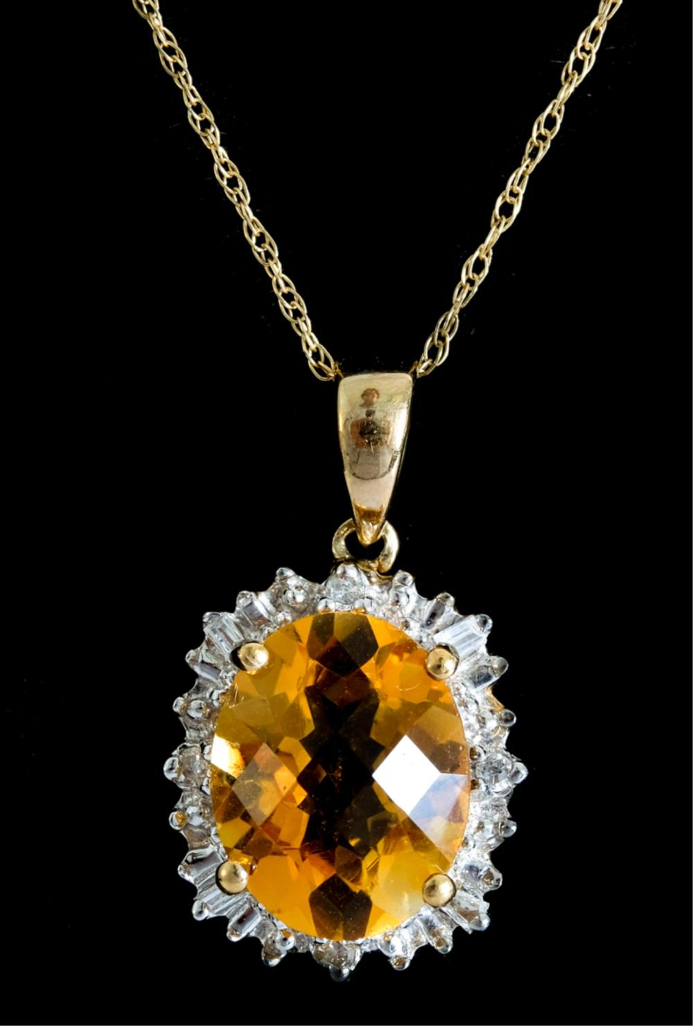 10k YG Diamond & Citrine Pendant Necklace